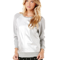 metallic leather/french terry mix sweatshirt