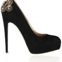 Brian Atwood Zenithlux chain and stud-embellished suede pumps – 58% at THE OUTNET.COM