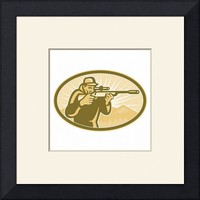 """Hunter Aiming Rifle Oval Retro"" by Aloysius Patrimonio"