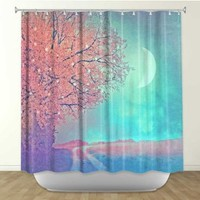 Shower Curtain Artistic Designer from DiaNoche Designs by Arist Monika Strigel Home Décor and Bathroom Ideas - Song of the Morningbird