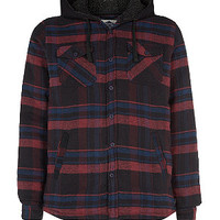 Burgundy Check Heavyweight Hooded Shirt