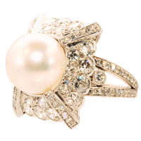 Platinum Diamond & South Sea Pearl Ring