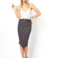 ASOS Belted Pencil Skirt in Longer Length