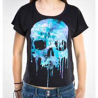 Cosmic Skull Drip Junior Fitted Crop Tee