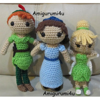 Disney Peter Pan Wendy Darling Tinker Bell Amigurumi Crochet Doll Handmade
