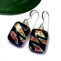 Fused Dichroic Glass Earrings, Black, Gold, Pink Zebra Animal Stripe