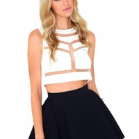 Missguided - Madison Denim Skater Skirt In Navy
