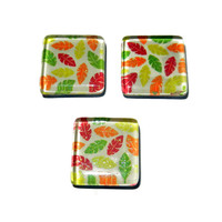 Red, Orange, Yellow and Green Leaf Magnets, Set of 3, Glass Magnets