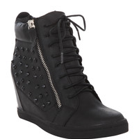N.Y.L.A. Black Dupree Wedge Sneakers
