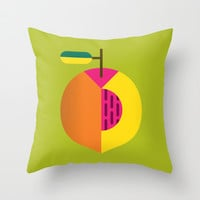 Fruit: Peach Throw Pillow by Christopher Dina