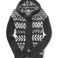 Fair Isle Hooded Cardigan - Aeropostale