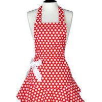Jessie Steele Hostess Apron Bib Josephine Red & White Polka Dot $30