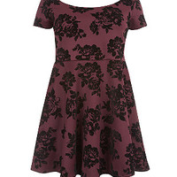 Inspire Burgundy Rose Flocked Skater Dress
