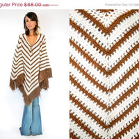 25% OFF SALE KNITTED bohemian hippie Chevron striped sweater Poncho cape, one size fits all
