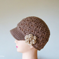 Brown Crochet Womens Hats, Handmade Teen Hats, woman Cap , Crochet Beanie, with beige flower