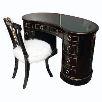 Susane R Lifestyle Boutique - SLIGH LOWRY - Kidney Shaped Tooled Leather Top Sligh Lowry Desk And Chair - 1stdibs