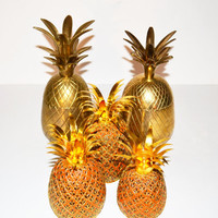 Vintage Cloisonné Pineapple Candle Holders set of 3 Cloisonné Pineapples in graduating sizes Cloisonné Pineapple Orange and Gold Pineapples