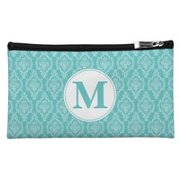 MONOGRAM DAMASK MAKEUP BAGS