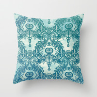 Vintage Wallpaper pattern in cobalt blue & emerald green Throw Pillow by micklyn