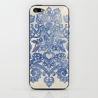 Indigo Blue Denim Ink Doodle iPhone & iPod Skin by micklyn