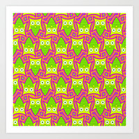 Psychedelic Neon Owl Pattern Art Print by Hippy Gift Shop