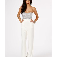 Missguided - Sora Sequin Bustier Jumpsuit