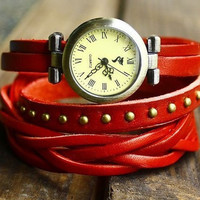 Vintage Style simple leather wrist watch,leather wrist watch lady red leather wrist watch 2163S