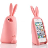 3D Cute Setting Ribbit Soft Silicone Gel Back Case Cover for iPhone 5 in 9 Colors Pink
