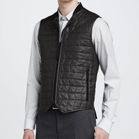 Quilted Leather Zip-Up Vest, Gray