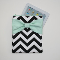 iPad Case - Android - Microsoft Tablet Sleeve - Black and White Chevron Mint Bow - Padded