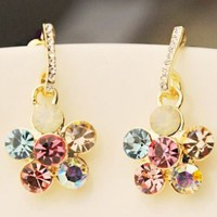 Tangling Sparkly Flowers Rhinestone Earrings