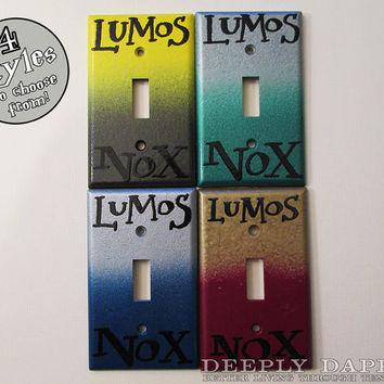 CYBER MONDAY SALE Harry Potter Slytherin Colors Lumos Nox Light Switch Cover by Deeplydapper Geeky Stocking Stuffer