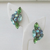 Weiss blue and green rhinestone earrings vintage 1950