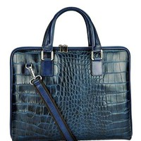 Giulia Embossed Genuine Leather Satchel Made In Italy