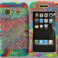 SAMSUNG GALAXY PREVAIL BOOST &PRECEDENT STRAIGHT TALK HYBRID SILICONE RUBBER MULTICOLOR + HARD PLASTIC COVER SNAP ON TRANSPARENT WITH GLITTER