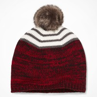 FAUX FUR POMPOM KNIT HAT - RED