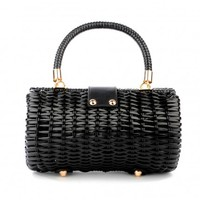 Wicker Baguette Purse in Black with Fruit Charm