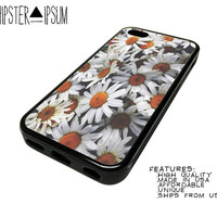 Vintage Daisy Flower Pattern Apple iPhone Case Cover Skin Design 4 4S 5 5S 5C S4 SIV