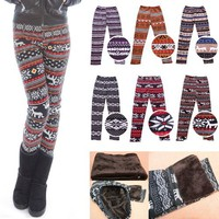HDE Women's Funky Snowflake/Reindeer Nordic Pattern Fleece Lined Winter Leggings