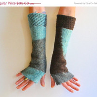 ON SALE Cashmere Fingerless Arm Warmers - Cashmere Arm Warmers - Geometric Felted Gloves