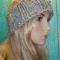Knit Headband Ear Warmer Head Wrap Hand Knit Oatmeal Gray Tweed Woodsy Chunky Ribbed