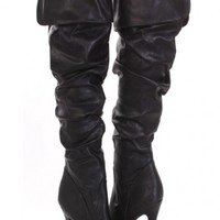 Black Faux Leather Ruched Fold Over Almond Closed Toe Boots