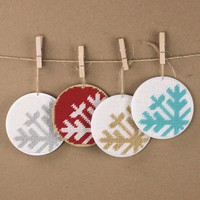 "christmas ornament needlepoint kit - diy - mod snowflake - 3.5"" - red and white - modern"
