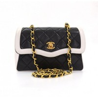 Vintage Chanel Black x White Quilted Gold Chain CC Leather Mini Shoulder Bag + Pouch