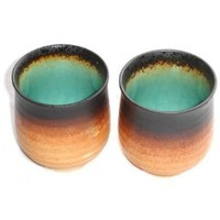 Set of Two Japanese Turquoise Green Kosui Teacups
