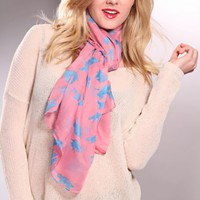 Mauve Blue Printed Bird Silhouette Decor Scarf