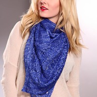 Royal Blue Soft Knit Metallic Detail Scarf