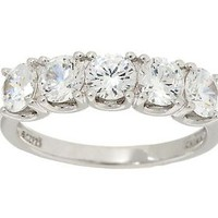 Epiphany Diamonique 2.00 ct tw 5-Stone Band Ring — QVC.com