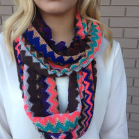 Purple Gold Mint Zig Zag Knit Sparkle Infinity Scarf