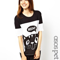 ASOS PETITE EXCLUSIVE Oversized Tee With Meow Print